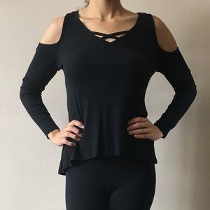 Long sleeve cold shoulder top
